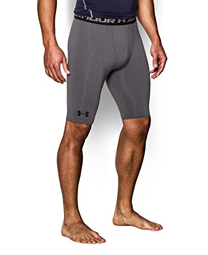 Under Armour Men's HeatGear Armour Compression Shorts – Long, Carbon Heather (090)/Black, Small by Under Armour (Image #2)