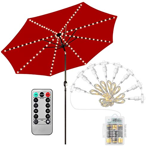 Patio Umbrella Lights, 104 LED String Lights with Remote Control, 8 Lighting Mode Umbrella Lights Battery Operated Waterproof Outdoor Lighting for Patio Umbrellas Camping Tents or -