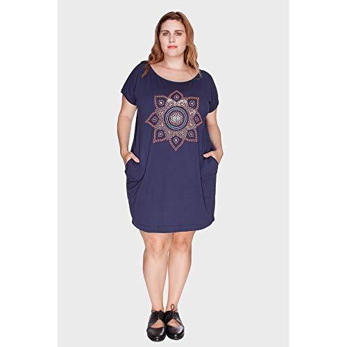 Vestido Camiseta Mandala Plus Size Marinho-54