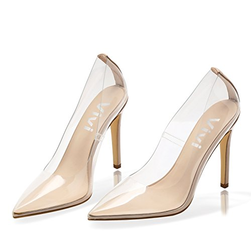 Vivi Fashion Block High Heel Pointed Toe Crystal Pumps Heels Shoes for Women Size (Smooth Point Toe Pump)