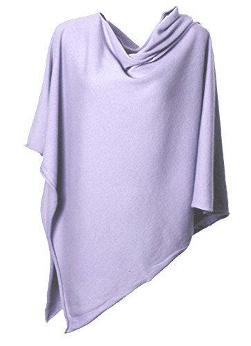 Anna Kristine Asymmetrical 100% Cashmere Draped Poncho Topper - Lavender Purple by Anna Kristine