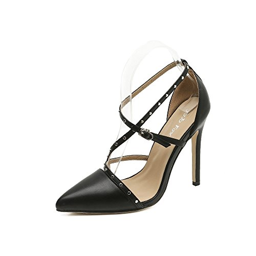 zapatos remache con tacón ZHZNVX de los punta El fina alto nuevo black huecos HqYqwA