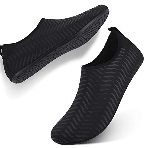 FEETCITY Mens Swim Shoe Womens Fitness Shoes Barefoot Water Footwear Sneakers Stripe Black L(W:9.5-10.5,M:7.5-8) from FEETCITY
