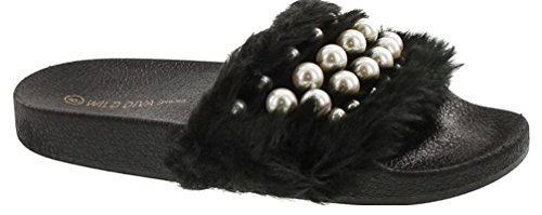 Embellished Platform - Wild Diva Women's Matty-04A Embellished Pearl Faux Fur Platform Wedge Slide Sandal,Black,8