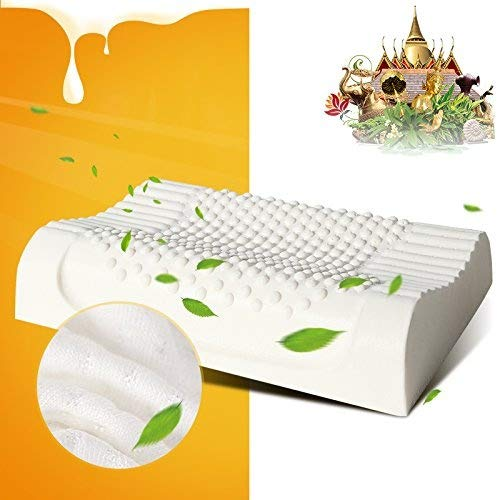 Pillow Memory Impressions Foam (AILOVYO Standard Adult Size Latex Foam Pillow Cervical Orthopedic Natural with 100% Ventilated Particles Latex Foam Filler Neck Support)