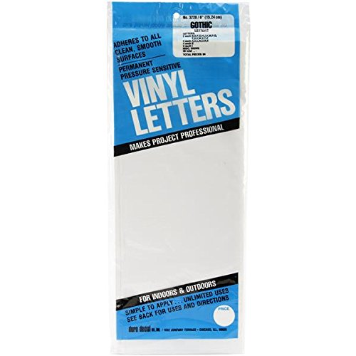Duro D3220-WHT Permanent Adhesive Vinyl Letters, 6-Inch, White