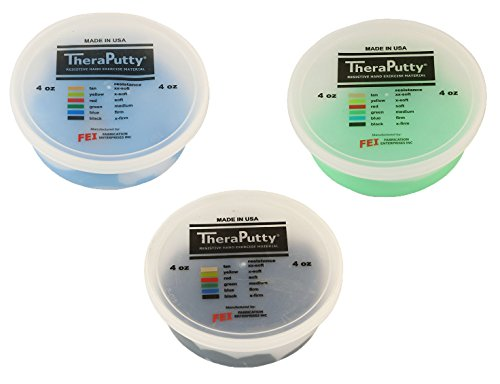 TheraPutty Standard Exercise Putty Green - Medium, Blue - Firm, Black - X-firm 4 OZ Each - Bundle by Theraputty