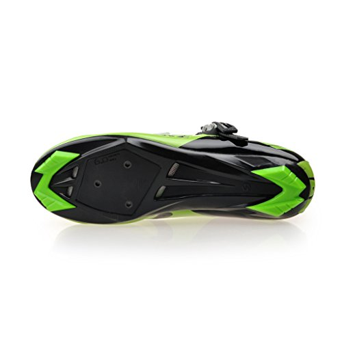 Road Bike Shoes Men's Racing Cycling Shoe (SD001-Green Black, US 13 / EU 46)