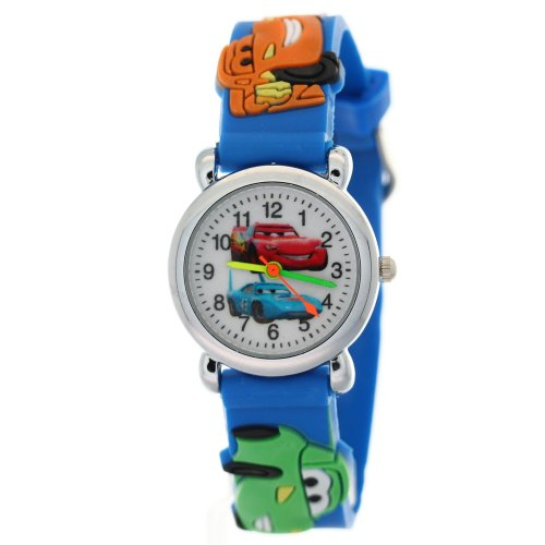 (Blue Rubber Strap White Dial Metal Case Kid Watches kids watch cars)