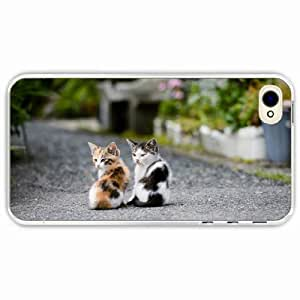 iPhone 4 4S Black Hardshell Case kittens couple sit Transparent Desin Images Protector Back Cover