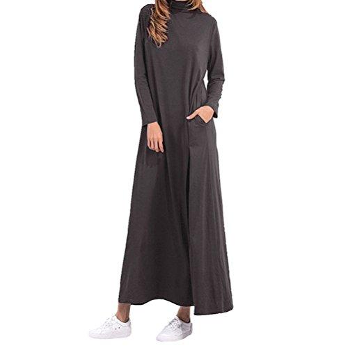 Grande Robe Unie Longues Manches Gris Taille Col avec Femme Fonc Poches Deux VONDA Longue Haut 8gwddt