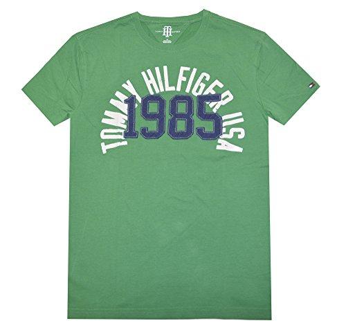 Tommy Hilfiger Men Crew Neck Graphic T-shirt (XL, Green/Off white/Navy)