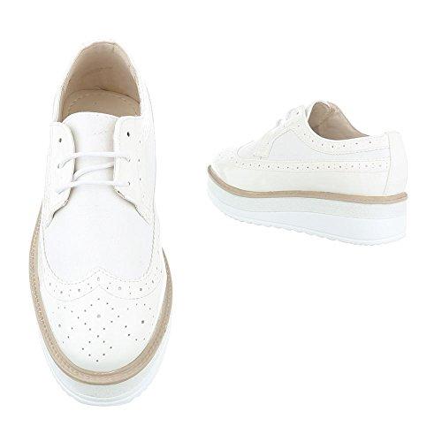 Ital-Design - Zapatos Planos con Cordones Mujer Weiß