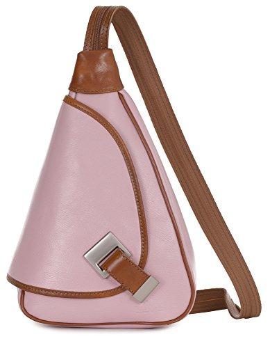 'Mila' de LiaTalia - 2en1 - Pequeño bolso de hombro para mujer ligero y convertible en mochila en auténtica piel italiana Rosapálido - Borde Caramelo