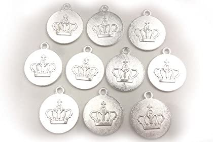 【HARU雑貨】シルバー ミール皿 10枚セット/王冠 クラウン 銀 s25/セッティング レジン アクセサリーパーツ
