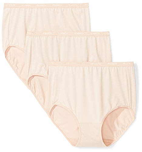 Arabella Women's Plus Size Microfiber Brief Panty, 3 Pack, Sunbeige, 3X Plus