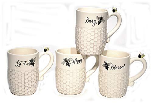 - Ceramic Bee Coffee Mug Cup - Set of 4