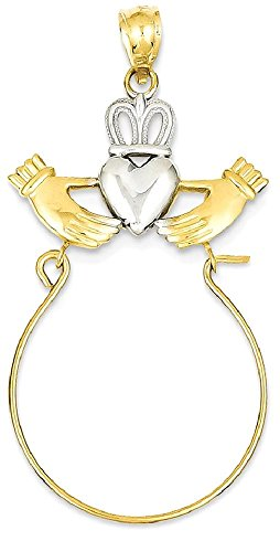 Mother Charm Holder (ICE CARATS 14k Yellow Gold Irish Claddagh Celtic Knot Pendant Charm Necklace Holder Fine Jewelry Gift Set For Women Heart)