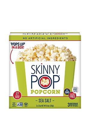 Skinny Pop Microwave Sea Salt Popcorn 8.4 oz (Pack of 3) by Skinny & Co.