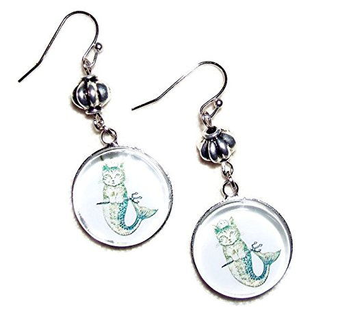 MERMAID CAT EARRINGS SILVER PLATED MERCAT MORPH DROPS WITH GLASS DOME VICTORIAN (Plated Dome)