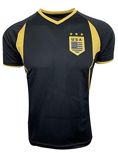 Rhinox USA Soccer T-Shirt Black and Gold, US Training Shirt (Adult -