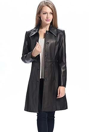 """BGSD Women's """"Amber"""" Missy & Plus Size New Zealand Lambskin Leather Walking Coat - Black M"""