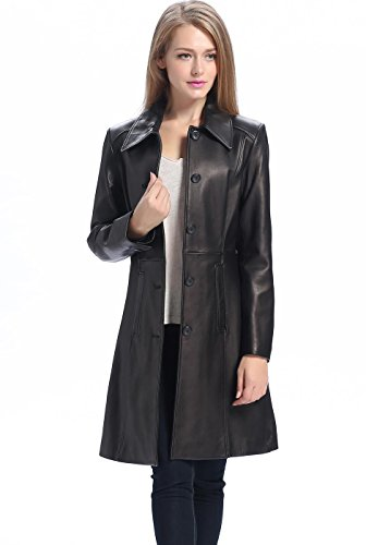 BGSD Women's Amber New Zealand Lambskin Leather Walking Coat - XL Black