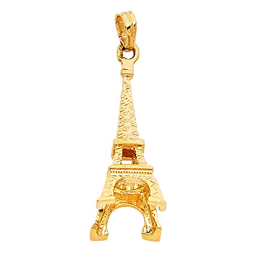 14k Eiffel Tower Charm - 14K Yellow Gold Paris Eiffel Tower Charm Pendant
