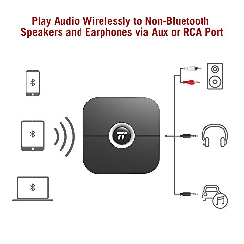 Bluetooth Receiver/Bluetooth AUX Adapter, TaoTronics 55 Hour and 100ft Bluetooth Stereo Adapter, 3.5mm AUX & RCA Wireless Audio Adapter for Home Audio Music Streaming Sound System