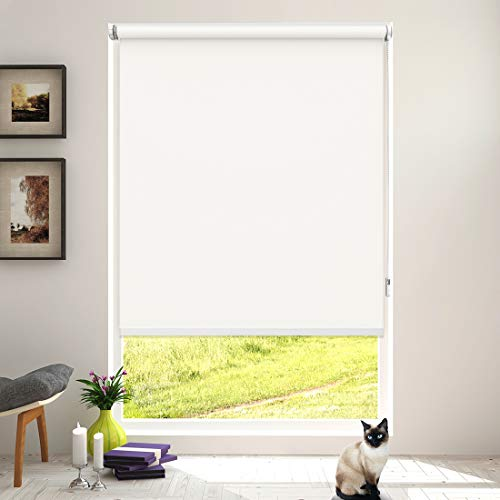 Keego Roller Shades for Windows Blackout No Drill Corded Roller Blinds Customer Cut to Size No-Tools Installation Window Shades for Bedroom and Kitchens[White 100% Blackout,20″ W x 60″ H]