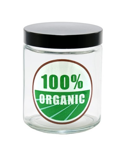 420 Science - Clear Screw Top Stash Jar with 100% Organic Decal - Assorted Sizes (Large)