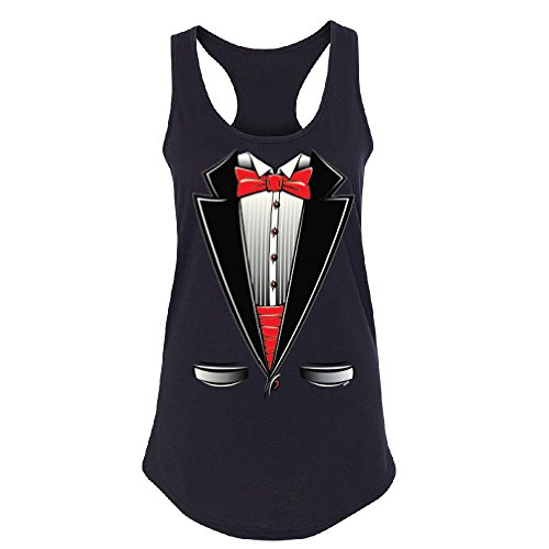 Smokin Tuxedo with Bow Tie Women's Racerback Tux Costume Halloween Shirt Black Large ()