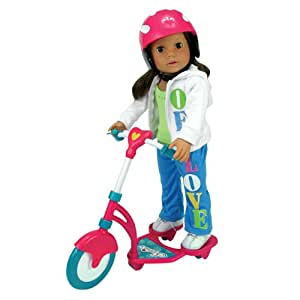 Doll Scooter & Helmet Set Made by Sophia's, 18 Inch Dolls Accessories fit for American Girl Dolls, 2 Pc. Doll Helmet & Scooter Set, 18 Inch Doll Furniture