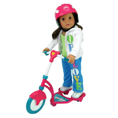 (Doll Scooter & Helmet Set Made by Sophia's, 18 Inch Dolls Accessories fit for American Girl Dolls, 2 Pc. Doll Helmet & Scooter Set, 18 Inch Doll Furniture)