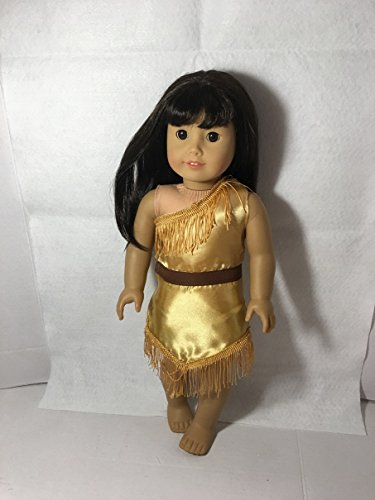 Fits American 18 inch Girl Doll Clothes Indian Native Princess Pocahontas Replica Dress Gown Handmade Clothes Only