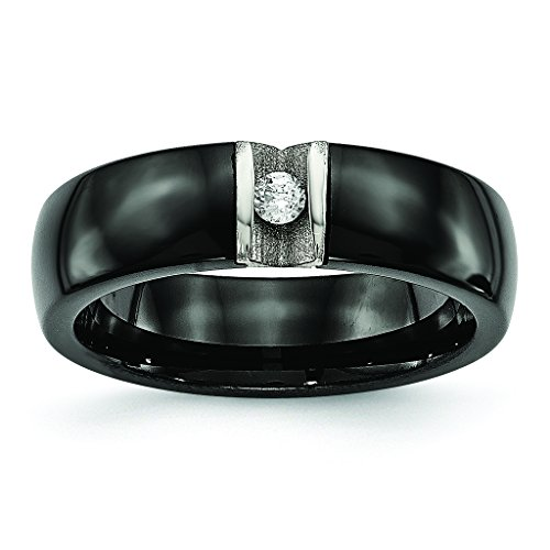 Steel Tension Set Ring (Black Plated Stainless Steel High Polish Finish Tension Set Single CZ Ceramic Wedding Band - Size 9)