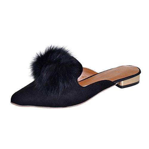 VFDB Pom Pom Flat Mules Womens Fashion Pointy Slippers Shoes