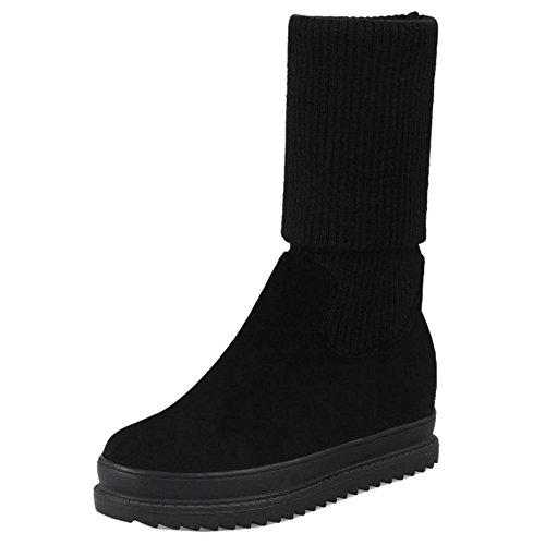COOLCEPT Damen Mode Stricken Stiefel Ohne Verschluss Black