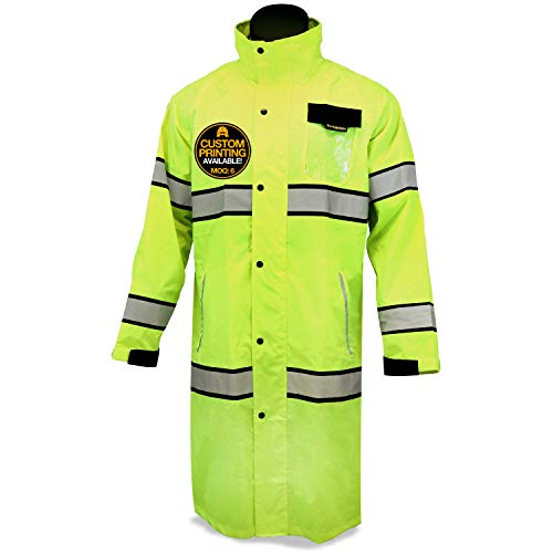 KwikSafety KwikSafety (Charlotte, NC) TORRENT Class 3 Safety Trench Coat | High Visibility Waterproof Windproof Safety Rain Jacket | Hi Vis Reflective ANSI Work Wear | Rain Gear Hideaway Hood Carry Bag | Large price tips cheap