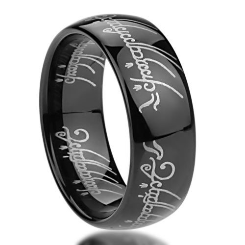 Double Accent 8MM Titanium Comfort Fit Wedding Band Laser Etched Old Letter Pattern Black Lord Rings (Size 6 to 14), 8.5