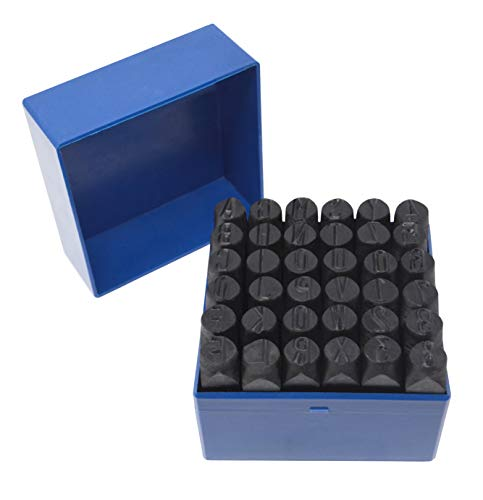 """PMC Supplies LLC 36 Pc 1/2"""" 12.5 mm Steel Stamps Punch Set for Stamping Metal Letter Alphabet Number Marking Gold Silver Bars Jewelry Marking Tool"""