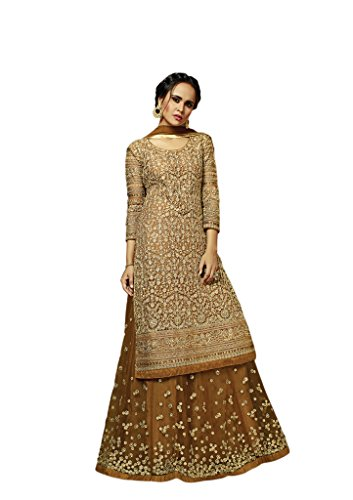 EthnicWear Latest Indian Party Wear Net Beige Brown Resham Zari Embroidery Indo Western Dress ()