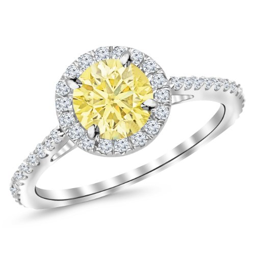 0.75 Ct Yellow Diamond (1.05 Ctw 14K White Gold Classic Round Diamond Engagement Ring w/ 0.75 Carat Yellow Diamond)