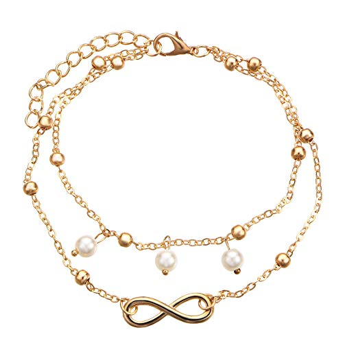 Women Ankle Bracelets Layered Infinity Faux Pearl Gold Charm Beads Anklet Bracelets for Girls