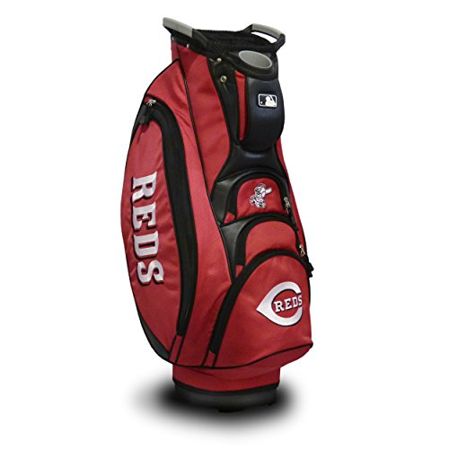 Team Golf MLB Cincinnati Reds Victory Golf Cart Bag, 10-way Top with Integrated Dual Handle & External Putter Well, Cooler Pocket, Padded Strap, Umbrella Holder & Removable Rain Hood