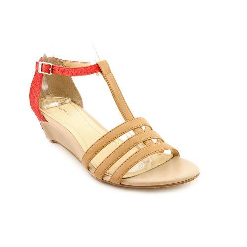 Calvin Klein Women's Ellie Wave Wedge Sandal, Camel/Coral, 9 M US