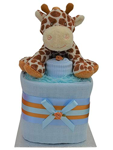 Gorgeous Mini Blue Boys Giraffe Themed Square New Baby Nappy Cake Baby Shower Gift Packaged to Perfection minbgir1