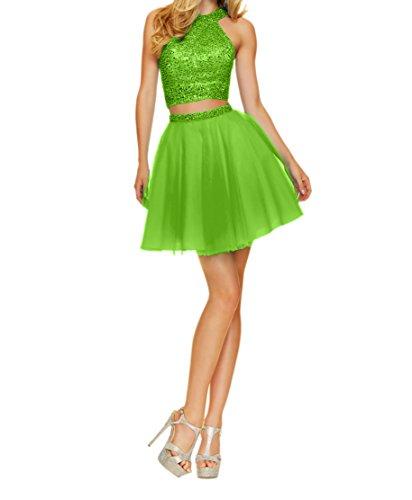 Gruen Tanzenkleider Charmant Ballkleider Mini Zwei Kurzes Abendkleider Apfel Cocktailkleider Damen Abiballkleider teilig nqxzOPwUYq