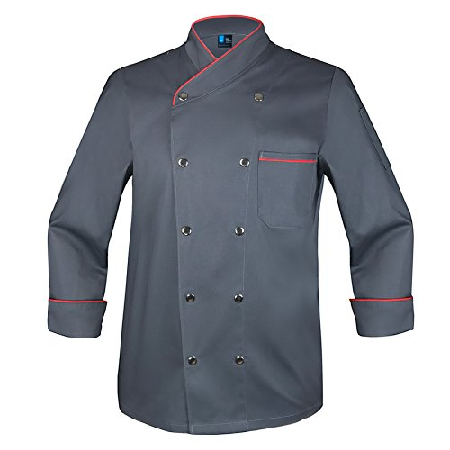 10oz apparel Twill Snap Front Chef Coat Long Sleeve Charcoal/Red M by 10oz apparel