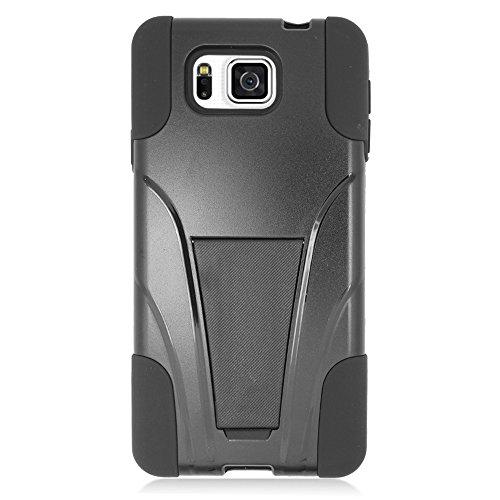 EagleCell For Samsung GALAXY ALPHA/G850F HYBRID CASE Y BLACK+BLACK+STAND